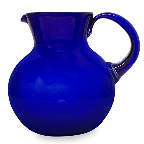 NOVICA Hand Blown Blue Decorative Recycled Glass Pitcher, 98 oz
