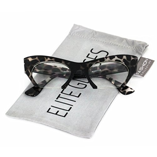 Cat Eye Eyeglasses Women Retro Vintage Razor Clear Lens Style Half Cut Off Frame (Black Tortoise, 2)