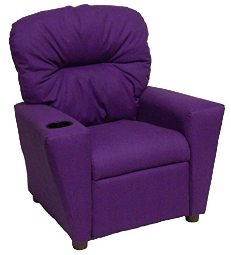 Brazil Furniture 401C Children's Home Theater Recliner with Cupholder, Solid Purple