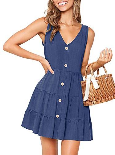 OEUVRE Women V Neck Sleeveless Button Down A Line Short Tank Dress Babydoll Ruffle Mini Dress Navy XL
