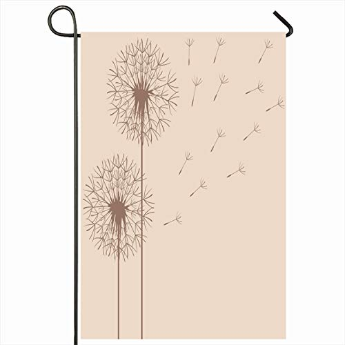 Ahawoso Seasonal Garden Flag 12x18 Inches Blossom Abstract Dandelions Raster Copy Nature Blowball Elegance Field Flight Floral Design Stem Home Decorative Outdoor Double Sided House Yard Sign