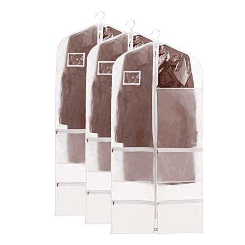 QEES 3 PCS Clear Dance Garment Bags for Costume, Full Zipper Dream Duffel Costume Bags, Waterproof Garment Bags for Bance Costumes with 4 Large Pockets 23.6