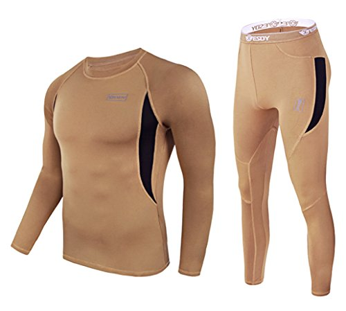 Exeke SDY Men's Thermal Underwear Set Athletic Base Layer Compression Shirts Long Sleeve Training Pants