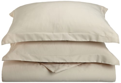 Lamma Loe's Silky Soft Solid Microfiber Luxury 3-Piece Duvet Cover Set, Includes Pillow Shams-Full/Queen, Cream/Tan