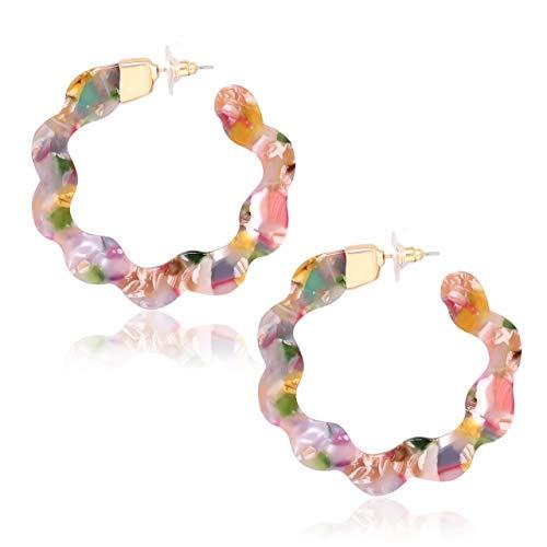 YEYA Acrylic Earrings for Women Girls Geometric Resin Circle Round Earrings Statement Hoop Earring Tortoise Stud Earrings Fashion Jewelry -