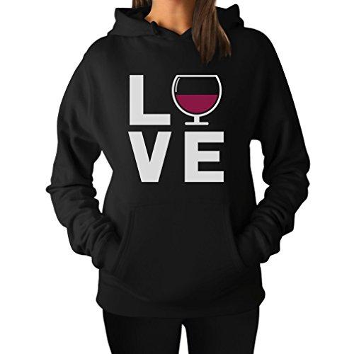 TeeStars - I Love Wine - Wine Drinkers Gift Idea - Glass of Wine Women Hoodie Medium Black