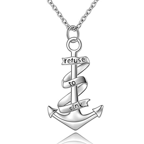 """Anchor Necklace """"refuse to sink"""" Nautical Sailor Sterling Silver Necklace Pendant for Women (refuse to sink anchor)"""