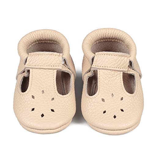 (LittleBeMocs T-Strap Baby Moccasins (Italian Leather) Soft Sole Shoes Boys Girls | Infants, Babies, Toddlers)