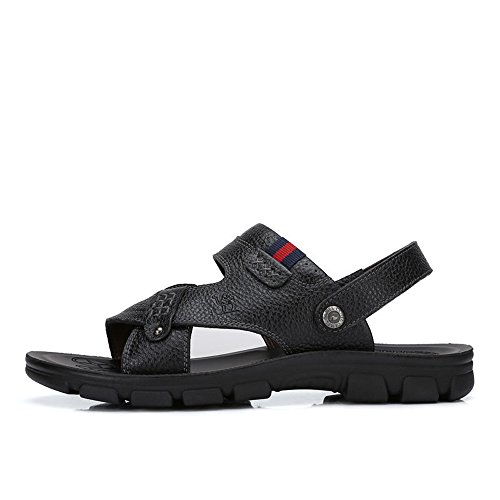 Camel Mens Casual Cow Leather Sandals Non-slip Slip On Summer Beach Wear Flip Flop Black YT8RbJ