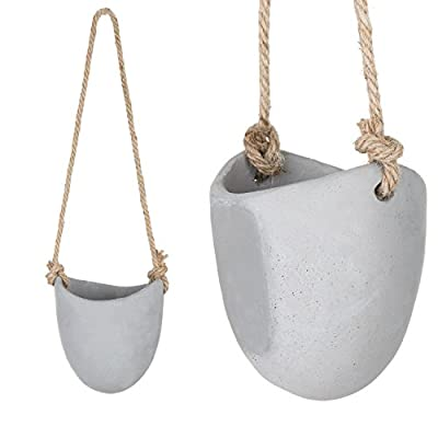MyGift 4-Inch Gray Cement Wall-Hanging Succulent Planter Pots, Set of 2: Garden & Outdoor