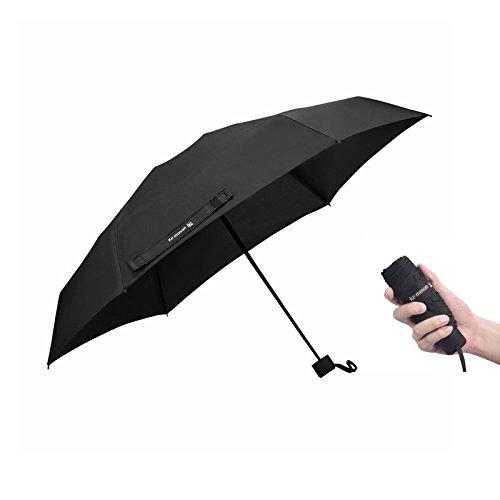 Ke.movan Travel Compact Umbrella Windproof Mini Sun & Rain Umbrella Ultra Light Parasol - Fits Men & Women, Gift Choice (Black)