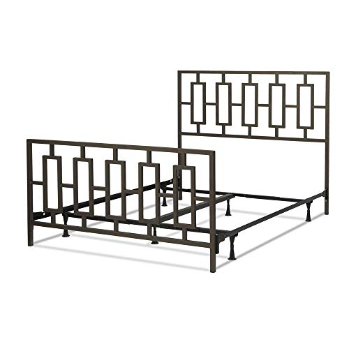 - Leggett & Platt Miami Complete Metal Bed and Steel Support Frame with Geometric Designed Grills and Squared Tubing, Coffee Finish, King