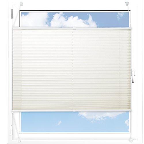 Plissee Rollo / Jalousie | Sichtschutz ohne Bohren | Faltstore in moderner Crushed Optik | Offwhite | Größe wählbar (100 cm Länge x 75 cm Breite)
