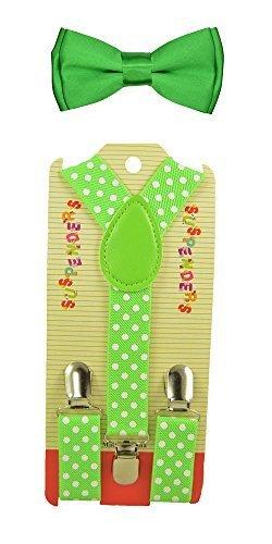 CUTE Baby Toddler Kids Children Boys Polka Dot Elastic Suspender & Plain Bow Tie Set by ACCmall