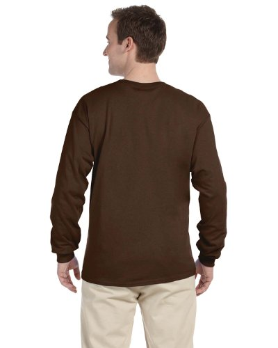 Fruit of the Loom Adult 5 Oz HD Cotton Long-Sleeve T-Shirt - Chocolate - L - (Style # 4930 - Original ()