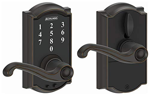 (Schlage Touch Camelot Lock with Flair Lever (Aged Bronze) FE695 CAM 716 FLA)