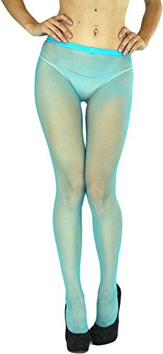 ToBeInStyle Women's Sexy Seamless Fishnet Full Footed Panty Hose Tights Hosiery - TURQUOISE - One Size Regular (Color Fishnet)