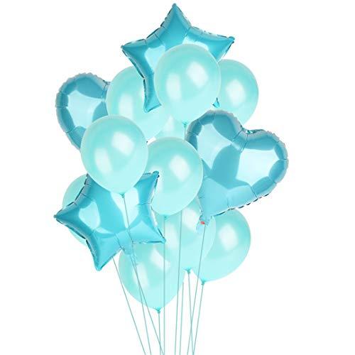 14Pcs 12Inch 18Inch Multi Air Balloons Happy Birthday Party Helium Balloon Decorations Wedding Festival Balon Party Supplies Tiffany Blue -