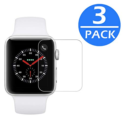 [3-Pack] Apple Watch 42mm Tempered Glass Screen Protector (Series 3 2 1) JALL [9H Hardness] [Anti-Fingerprint] [Bubble Free] [Only Covers The Flat Area] Screen Protector for Apple Watch 42mm