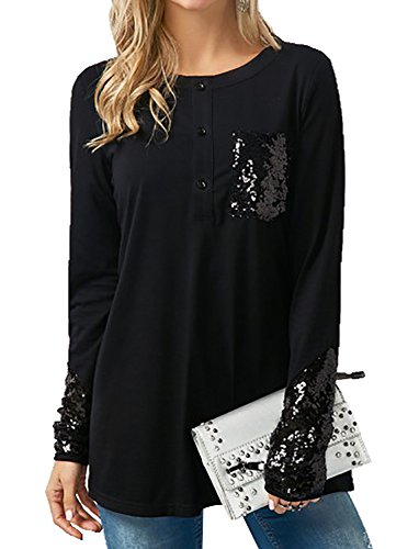 Plus Sparkle (Bbalizko Womens Tops Loose Long Sleeve Sparkle Sequins Cuff Patchwork Casual Tunic Shirts)