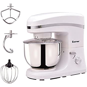 Costway Tilt-head Stand Mixer 5.3Qt 6-Speed 120V/800W Electric Food Mixer w/ Stainless Steel Bowl(White)