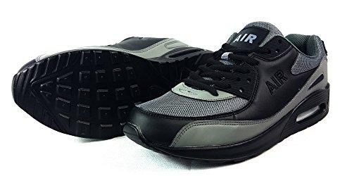 Zapatillas deportivas para hombre, con cordones, estilo casual, textil, Blanco, UK9 / EUR 44 B/Grey/Black