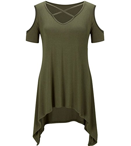 ONLYUH Women Sexy Criss Cross T Shirts Summer Casual Short Sleeve V Neck Tunic Tops with Flare Hem (XL Army Green01)