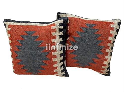 "iinfinize - 2 PC Indian Wool Jute 18"" Pillow Case Handwoven Gorgeous Kilim Cushion Cover Multicolor Boho Sofa Bed Pillow Shams Home Decor Square Shape Rustic Cushion Case Decorative Throw Multi Decor"