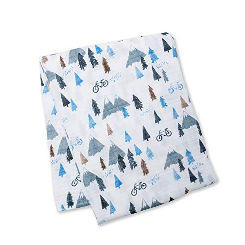 lulujo Baby Cotton Muslin Swaddling Blanket, Mountain - Mountain Square Shower