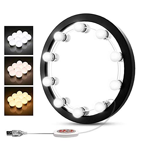 Meetop Hollywood Style LED Vanity Mirror Lights Kit with Dimmable Light Bulbs, Lighting Fixture Strip for Makeup Vanity Table Set in Dressing Room, Mirror Not Included(10 Bulbs kit)