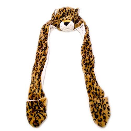 Mememall Fashion Leopard Winter Hat Fluffy Plush Warm Cap Mittens Scarf Gift Hoodie Beanie (Kids Union Officer Hat)