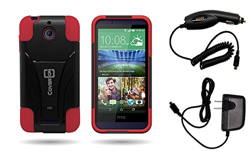 HTC Desire 510 Case, CoverON for HTC Desire 510 (Cricket 2014) Premium Durable Rugged Shell Hybrid Protective Phone Case w/Home + Car Charger - Black Red (Boost Htc 510 Desire Phone Cases)