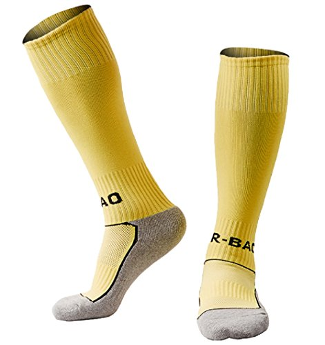 Boys/Girls Outfits Compression Long Sport Knee High Football & Soccer Socks Pack (Kids/Youth Gifts) 1 Pair Yellow