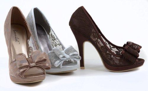 Renee-1 Bow Lace Detail Peep-Toe Heels Silver