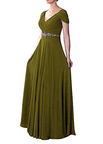 Olive Brautmutterkleider Damen Neu Chiffon Charmant Langes Einfach Braun Abendkleider Partykleider Festlichkleider Gruen XwvdFwqOx