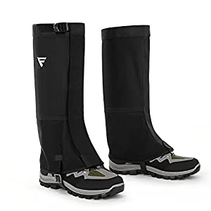 FiveJoy Mountain Hiking Boot Gaiters (Men and Women) - Breathable Waterproof High Leg Cover - Keep Water and Debris Out, Protect Against Sharp Rocks, Bush - For Backpacking Hunting Climbing Outdoors