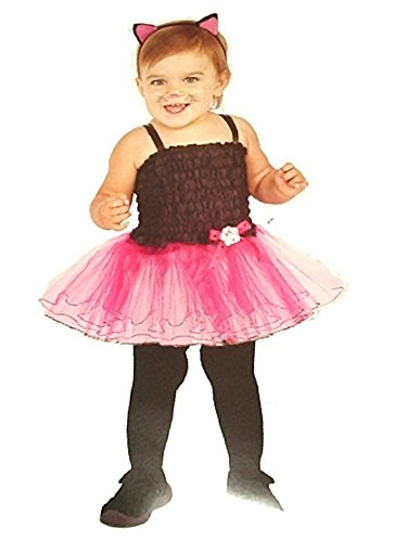 [Rubies Halloween Baby Girls Infant Cat Tutu Costume Pink & Black Fits 12-18 Months] (Halloween Costumes For 16 Month Old Girl)