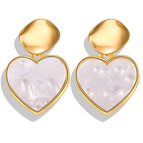Romantic Heart Acrylic Dangle Earring Gold Color Sequin Resin Drop Earrings Statement Jewelry for Women Wedding