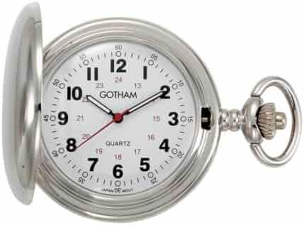 Gotham Men's Silver-Tone Polished Finish Covered Quartz Pocket Watch # GWC15042S