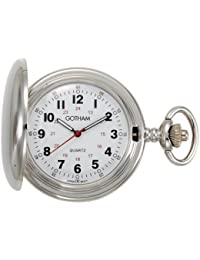 Men's Silver-Tone Polished Finish Covered Quartz Pocket Watch # GWC15042S
