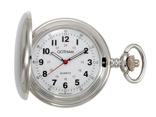 Tone Analog Pocket Watch - Gotham Men's Silver-Tone Polished Finish Covered Quartz Pocket Watch # GWC15042S