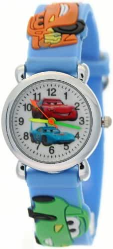 3D Cartoon Cars Figure White Round Dial Blue Strap Band Kids Children Watch Timer Teacher Wristwatch