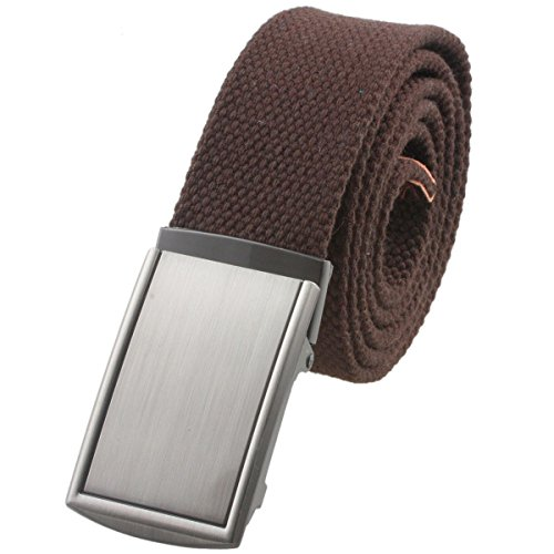 Moonsix Canvas Web Belts for Men,Solid Color Military Style Belt Buckle ,Brown (Casual Canvas Belt)