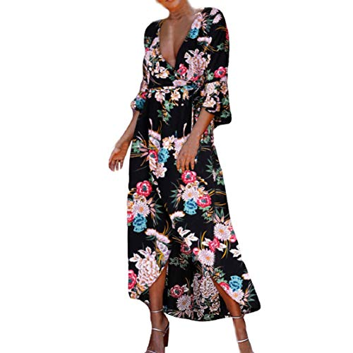 Women Casual 3/4 Ruffle Sleeve Deep V Neck Wrap Split Long Dress with Belt Floral Print Maxi Dress by Lowprofile Black