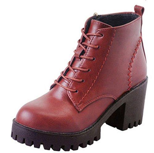Satuki Womens Ragazze Adolescenti Impermeabili Tacco Alto Zeppe Stivali Alti Scarpe Casual Rosso (fodera Peluche Corto)