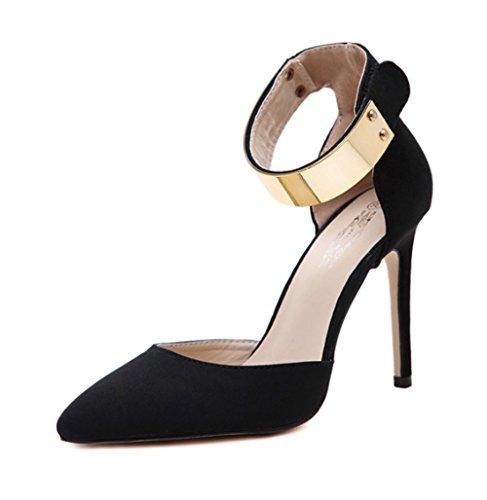 Single Fußriemen Schuhe und Europa Ring LBDX Staaten Frau Vereinigten die Metall Herbst Heels größe Damenschuhe Soft Schwarz Farbe Tanzschuhe High 40 Slim 4wZ4fvxq