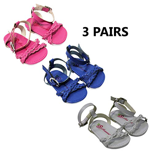 - 3 Pair Bundle | Trendy Braided Spring Summer Sandals | Pink | Blue | White |Fits 18 Inch American Girl Doll & More!