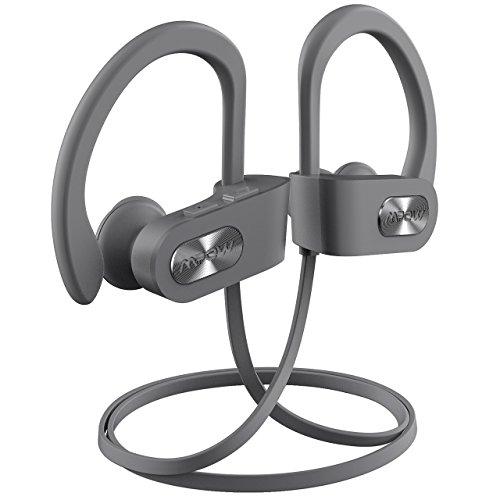 Mpow Flame Bluetooth Headphones Sport IPX7 Waterproof Wireless Sport Earbuds, Richer Bass HiFi Stereo in-Ear Earphones, 7-9 Hrs Playback, Running Headphones W/CVC6.0 Noise Cancelling Mic, Grey