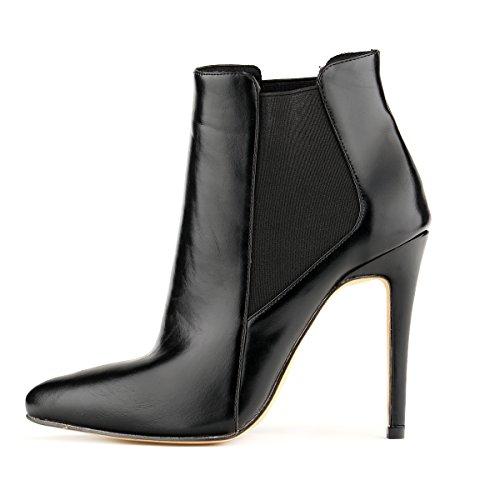 LOSLANDIFEN Womens Pointed Toe Stiletto High Heels Bootie Dress Ankle Boots Black iiq1dK
