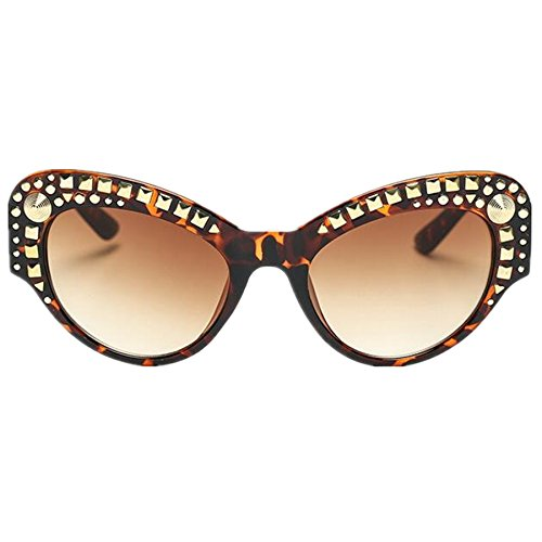 WIIPU Women's Spikes Punk Rock Party Cat eye Sunglasses(S281) (leopard, brown)